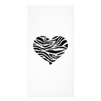 Zebra heart photo card