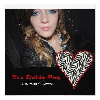 Zebra Heart: Picture Party Invitations