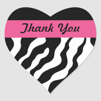 Zebra Heart Thank You Stickers