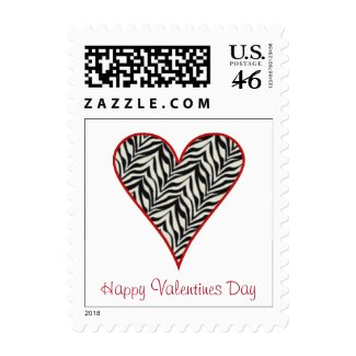 Zebra Heart Valentines Day Postage Stamp stamp