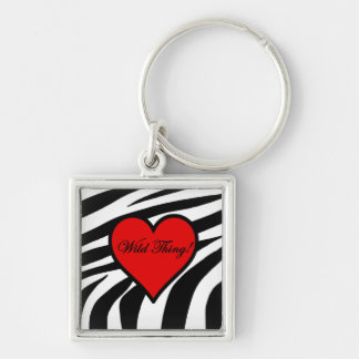 Zebra Heart - Wild Thing Silver-Colored Square Keychain