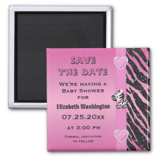 Zebra & Hearts Baby Shower Save the Date 2 Inch Square Magnet