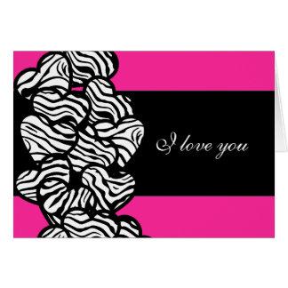 Zebra hearts Design 'I love you'  Card