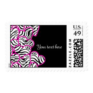 Zebra hearts Design postage