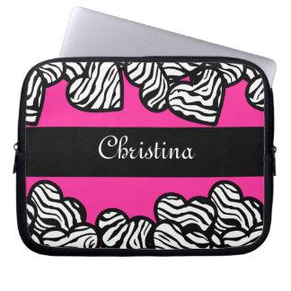 Zebra hearts Laptop Sleeve
