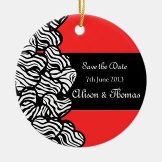 Zebra hearts 'Save the date' Ornament