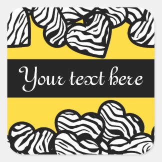 Zebra hearts sticker
