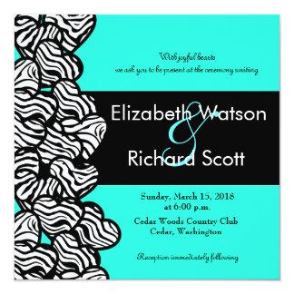 Zebra hearts wedding invitation