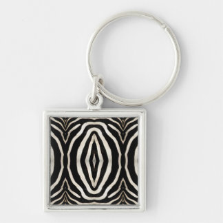 Zebra Hide Photograph Silver-Colored Square Keychain