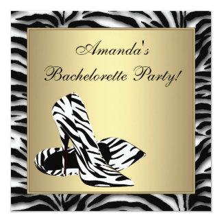 Zebra High Heels Bachelorette Party 5.25x5.25 Square Paper Invitation Card