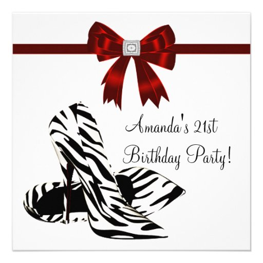 Zebra High Heels Womans 21st Birthday Party Custom Invitations