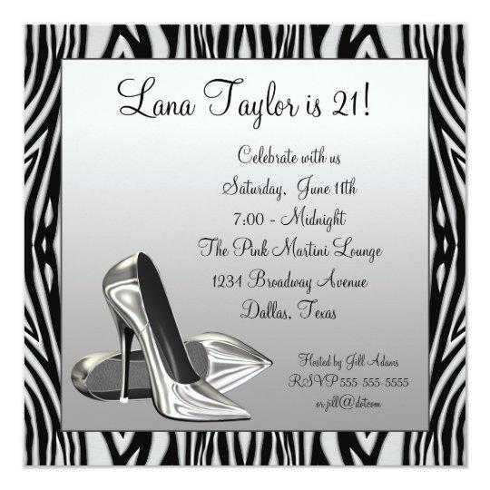 Zebra High Heels Womans  Birthday Party Card