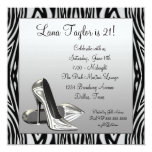 Zebra High Heels Womans  Birthday Party Custom Invitation