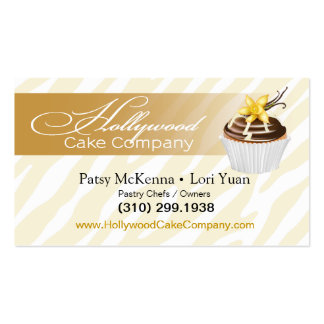Zebra Hollywood Cupcakes - gold Business Card