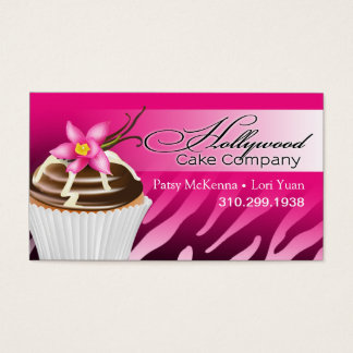 Zebra Hollywood Cupcakes - ombre fuschia Business Card