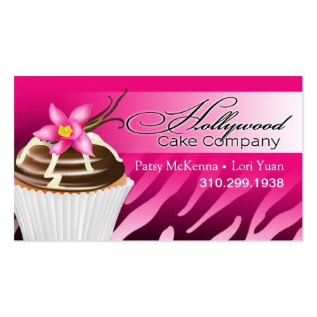 Pink Fuchsia Zebra Ombre Hollywood Cupcakes Business Cards