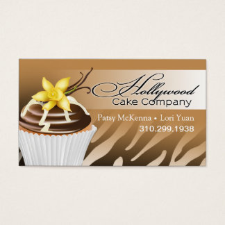 Zebra Hollywood Cupcakes - ombre gold Business Card