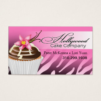 Zebra Hollywood Cupcakes - ombre pink Business Card