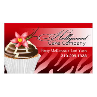 Zebra Hollywood Cupcakes - ombre red Business Card