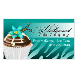 Zebra Hollywood Cupcakes - ombre teal Business Card