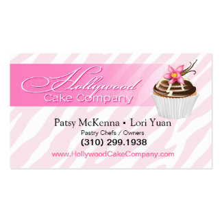 Zebra Hollywood Cupcakes - pink Business Card