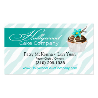 Zebra Hollywood Cupcakes - teal Business Card