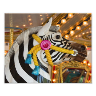 Zebra Horse Merry-Go-Round Carousel Ride Photo Print