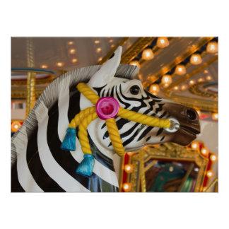 Zebra Horse Merry-Go-Round Carousel Ride Poster