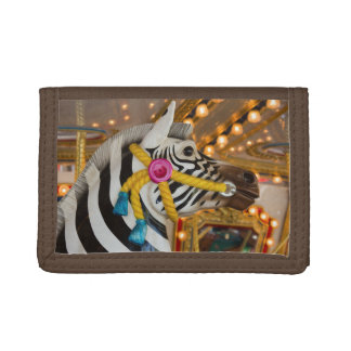Zebra Horse Merry-Go-Round Carousel Ride Trifold Wallets