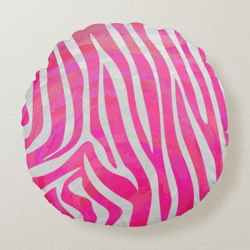 Pink Zebra Print Decorative Pillows : Zebra Hot Pink and White Print Round Pillow
