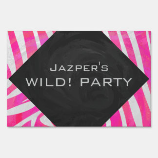 Zebra Hot Pink and White Print Yard Signs