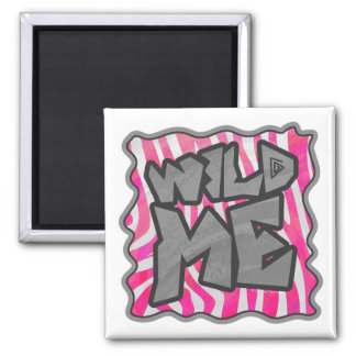Zebra Hot Pink and White Wild Me Magnet