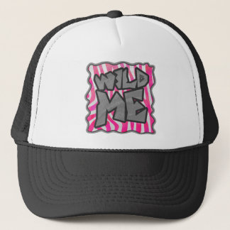 Zebra Hot Pink and White Wild Me Trucker Hat