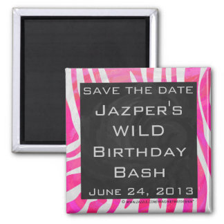 Zebra Hot Pink and White with Monogram Magnet