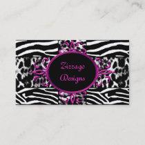 Zebra Hot Pink Black White Leopard Zebra Stripe Business Card