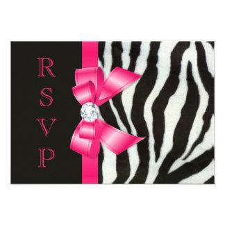 Zebra Hot Pink Bow RSVP Personalized Invitation