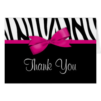 Zebra Hot Pink Bow Thank You Greeting Card