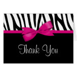Zebra Hot Pink Bow Thank You Stationery Note Card