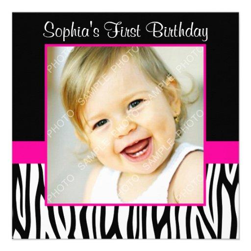 Zebra Hot Pink Girls Photo 1st Birthday Party Announcements