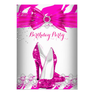 Zebra Hot Pink High Heel Lace Pearl Birthday Party Card