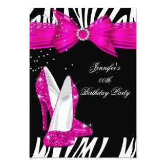 Zebra Hot Pink High Heel Shoe Black Birthday 3 5x7 Paper Invitation Card