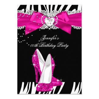 Zebra Hot Pink High Heel Shoe Black Birthday 4 Card
