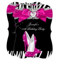 Zebra Hot Pink High Heel Shoe Black Birthday 4 Invitation