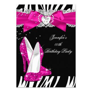 Zebra Hot Pink High Heel Shoe Black Birthday 4 5x7 Paper Invitation Card