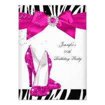 Zebra Hot Pink High Heel Shoe Black Birthday Bow Invitation