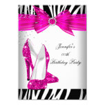 Zebra Hot Pink High Heel Shoe Black Birthday Party Card