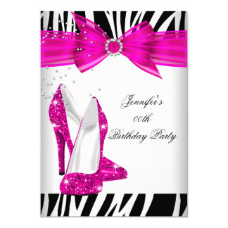 Zebra Hot Pink High Heel Shoe Black Birthday Party 5x7 Paper Invitation Card