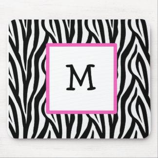 Zebra & Hot Pink monogram mousepad