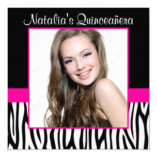 Zebra Hot Pink Photo Quinceanera Invitations
