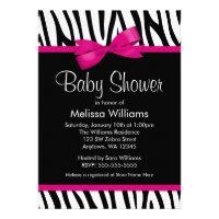 Zebra Hot Pink Printed Bow Baby Shower Invitation Custom Invites